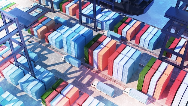 Terminais de contêineres no porto e embarque de contêineres grande porto de carga com ângulo de visão de 45 graus
