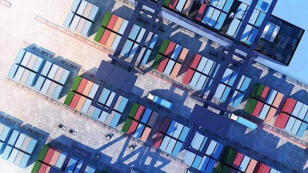 Terminais de contêineres no porto e transporte de contêineres, grande porto de carga, vista de cima, renderização em 3d