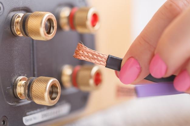 Terminal de fio do alto-falante hi-fi para fiação dupla com conectores banhados a ouro