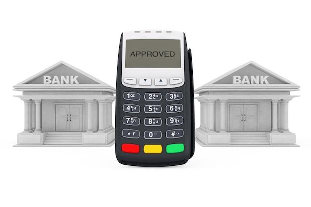 Terminal de pagamento com cartão de crédito perto de edifícios de bancos em um fundo branco. renderização 3d