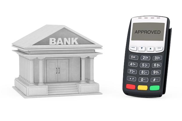 Terminal de pagamento com cartão de crédito perto do edifício do banco em um fundo branco. renderização 3d