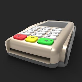 Terminal de pagamento com cartão. terminal pos isolado em fundo preto. renderização 3d.