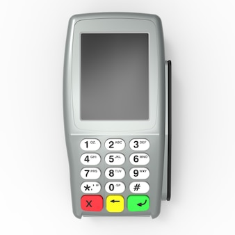 Terminal de pagamento com cartão. terminal pos isolado. renderização em 3d.