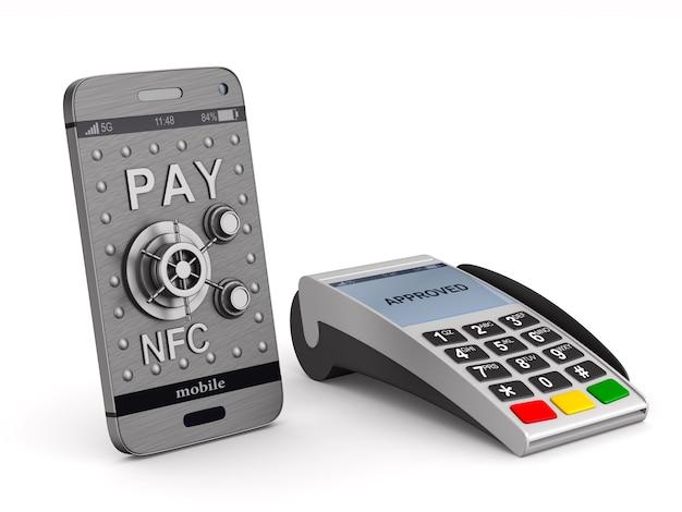 Terminal de pagamento e telefone em branco