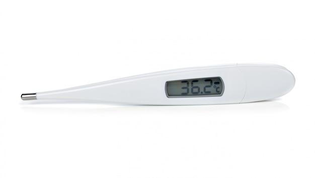 Termômetro eletrônico isolado no branco