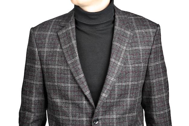 Terno de blazer de lã masculino xadrez, imagem isolada no fundo branco.