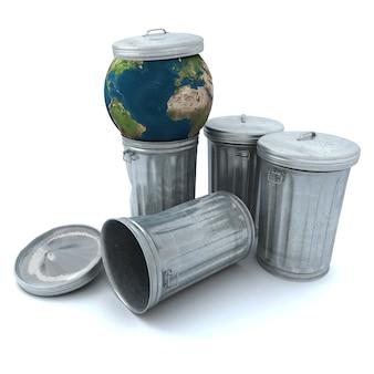 Terra azul jogada no lixo