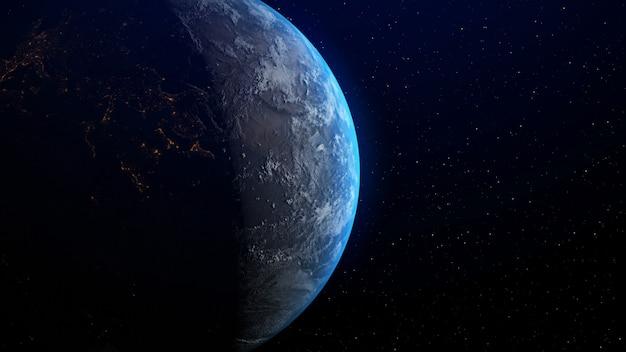 Terra com nascer do sol no horizonte pela rendição 3d.