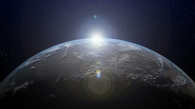 Terra com o nascer do sol no horizonte