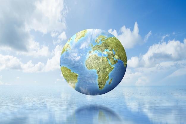 Terra com um céu azul. dia mundial do meio ambiente