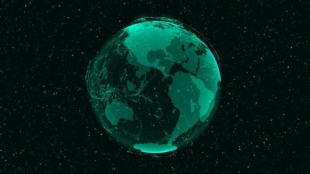 Terra digital 3d mostra o conceito de rede global