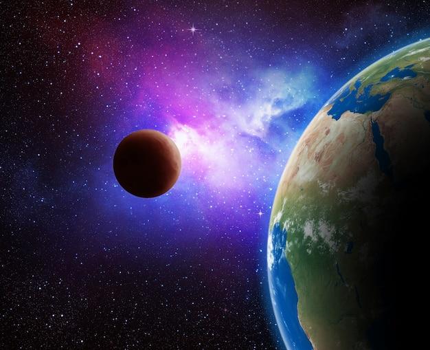Terra e galáxia.