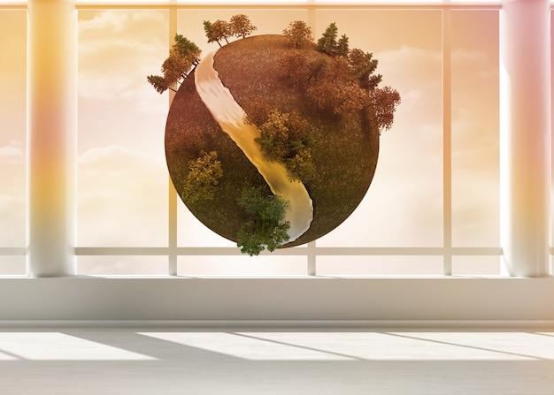 Terra flutuando no quarto
