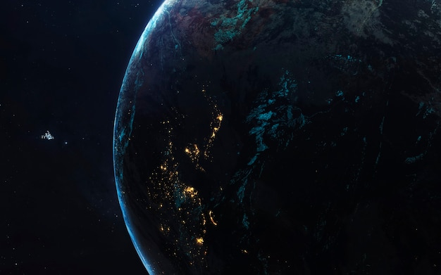 Terra. imagem do espaço profundo, fantasia de ficção científica em alta resolução ideal para papel de parede e impressão. elementos desta imagem fornecidos pela nasa