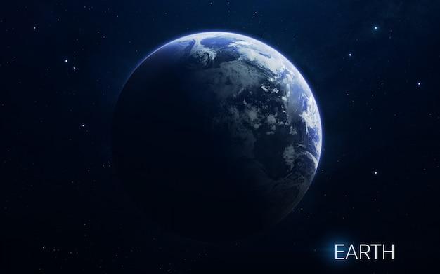 Terra - planetas do sistema solar em alta qualidade. papel de parede de ciência.