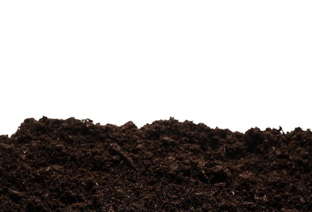 Terra preta para planta isolada no branco.