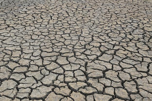Terra rachada e textura do solo seco.
