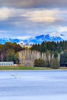 Terra, scape, e, natural, vista montanha, ponto, de, lago, te anau, ilha sul, nova zelândia