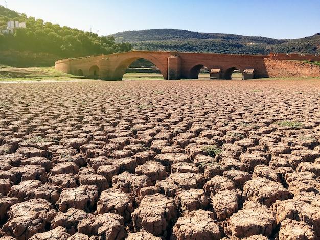 Terra seca e rachada em um pântano sem água e uma ponte no fundo