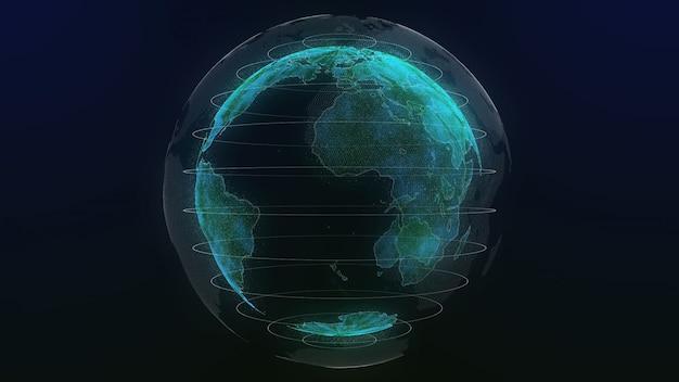 Terra tecnologia holograma cor verde