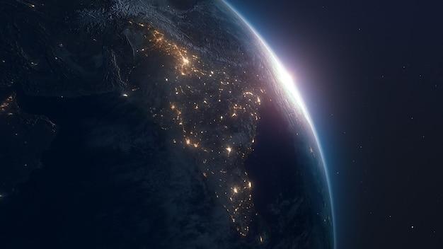 Terra terra realista com luzes noturnas do espaço