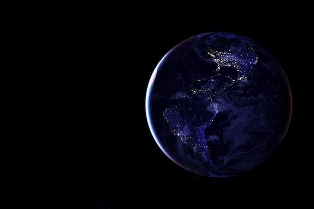 Terra vista do espaço à noite. os elementos desta imagem foram fornecidos pela nasa. foto de alta qualidade
