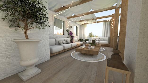 Terraço ao ar livre de uma casa de estilo técnico 3d render