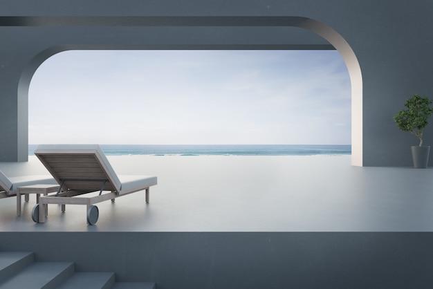 Terraço com vista para o mar e cama em casa de praia de luxo com céu azul