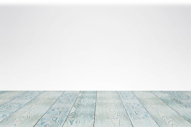 Terraço de madeira vazio com fundo branco. como modelo de palco para sua vitrine.