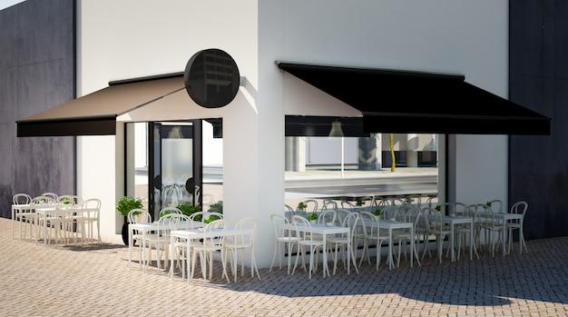 Terraço do café com elementos de marca em branco renderização em 3d