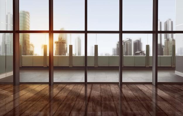 Terraço tranquilo com vista da cidade e arranha-céus