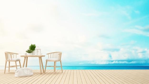 Terraço vista para o mar no restaurante ou hotel - renderização em 3d