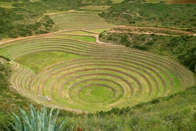 Terraços agrícolas históricos de moray no vale sagrado dos incas, região de cusco, peru