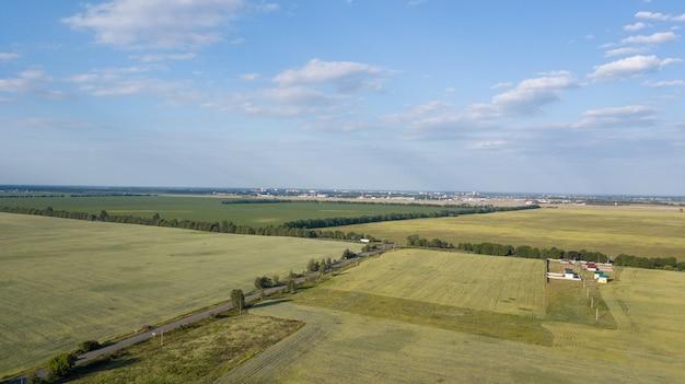 Terras agrícolas de cima - imagem aérea de um verde luxuriante arquivado