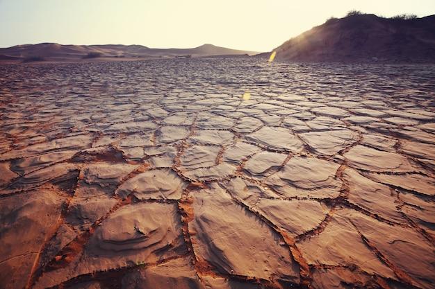 Terras áridas no deserto