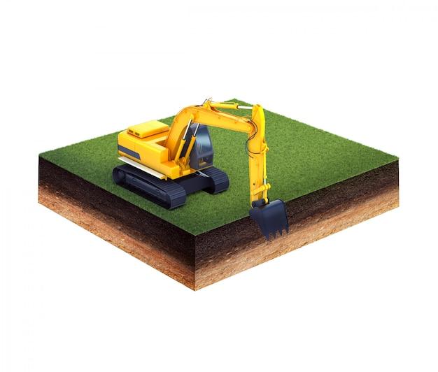Terreno com grama e escavadeira