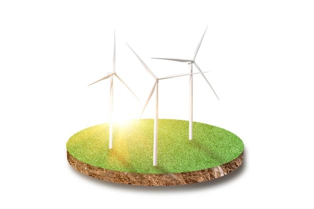 Terreno de seção transversal de campo de grama verde com turbina eólica isolada no branco
