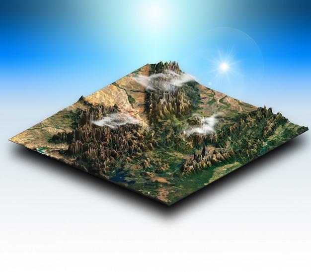 Terreno isométrico 3d de uma paisagem montanhosa