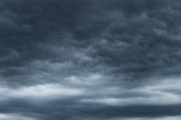 Terríveis nuvens de tempestade cinzentas, como durante chuva ou tempestade