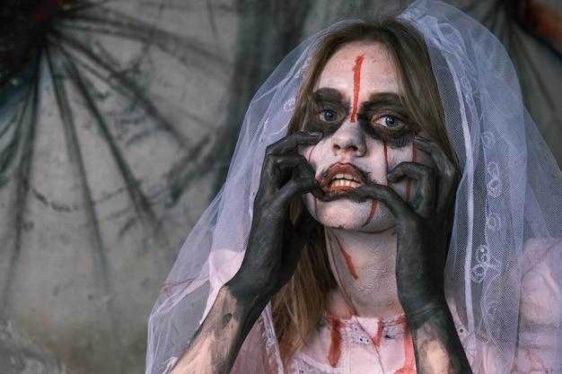 Terror, pesadelo e conceito de halloween.