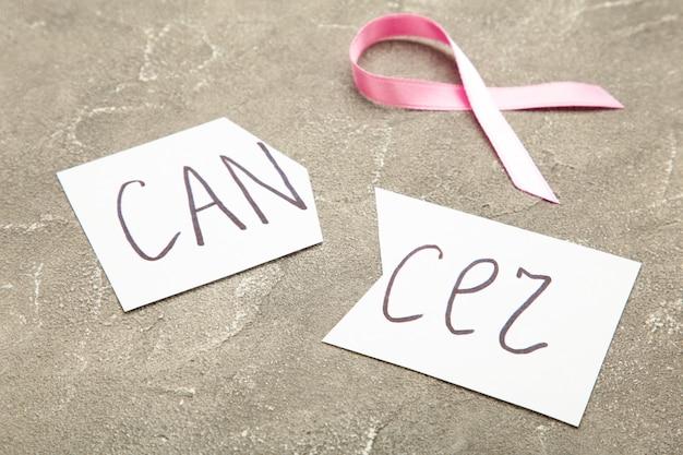 Tesoura cortando um pedaço de papel com a palavra câncer com fita rosa