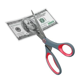 Tesoura de corte de notas de cem dólares americanos em um fundo branco. renderização 3d.