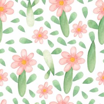 Teste padrão de flor bonito em aquarela