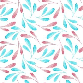 Teste padrão de seampless dos ramos cor-de-rosa e azuis isolados no fundo branco. ilustração em aquarela.