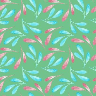 Teste padrão de seampless dos ramos cor-de-rosa e azuis isolados no fundo verde. ilustração em aquarela.
