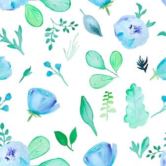 Teste padrão floral desenhada mão em aquarela