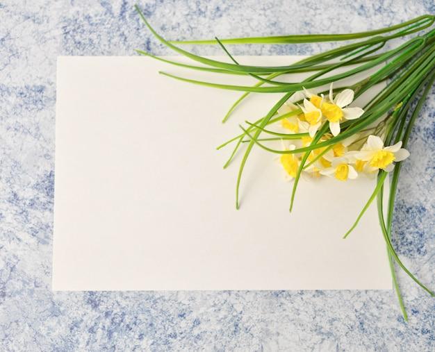 Teste padrão floral feito das folhas verdes no fundo azul e branco. vista plana leiga