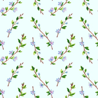 Teste padrão floral sem costura com ramos de primavera com flores. árvore de maçã ou cereja. mão-extraídas aquarela ilustração em azul.