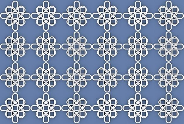 Teste padrão oval branco sem emenda da forma da flor no fundo azul da parede.