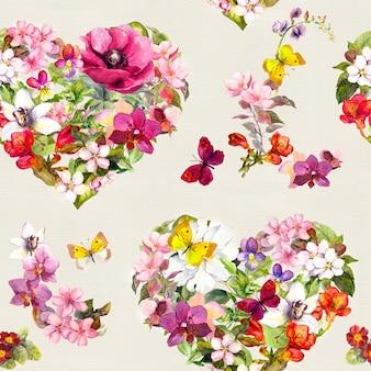 Teste padrão sem emenda - corações servidos florais com flores, borboletas do prado, grama selvagem. aguarela